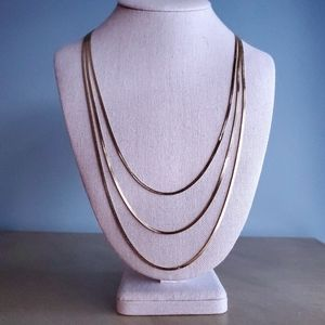 Vintage Signed Monet Long Layered Gold Necklace